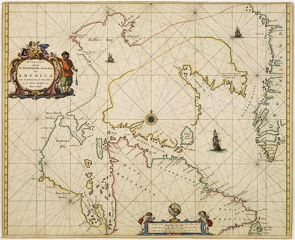 GOOS, P. -  Paskaert Zynde de Noordelijckste Zeekusten van America van Groenland door de Straet Davis en de Straet Hudson tot Terra Neuf . . .