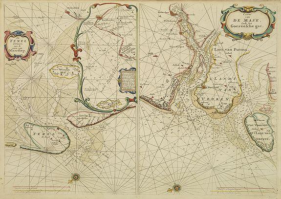 GOOS, P. -  De Texel Stroom met de gaten vant Marsdiep. [with] Caarte van De Mase ende het Goereesche Gat.