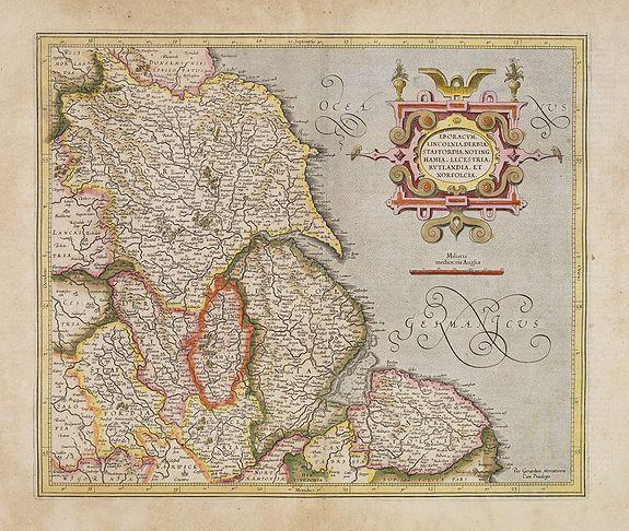 MERCATOR, G. / HONDIUS, J. -  Eboracum, Lincolnia, Derbia, Staffordia, Notinghamia. . .