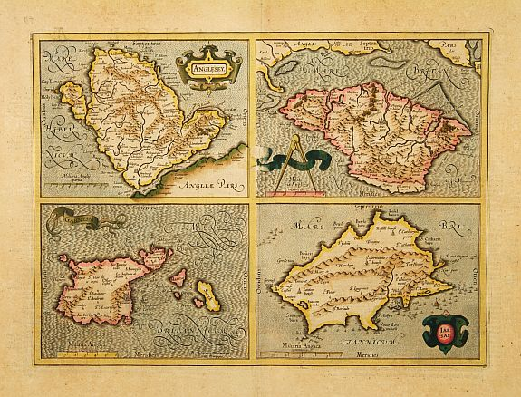 MERCATOR, G. / HONDIUS, J. -  Anglesey. / Iarsay. / Carnesay. / Wight Vectis Olim.