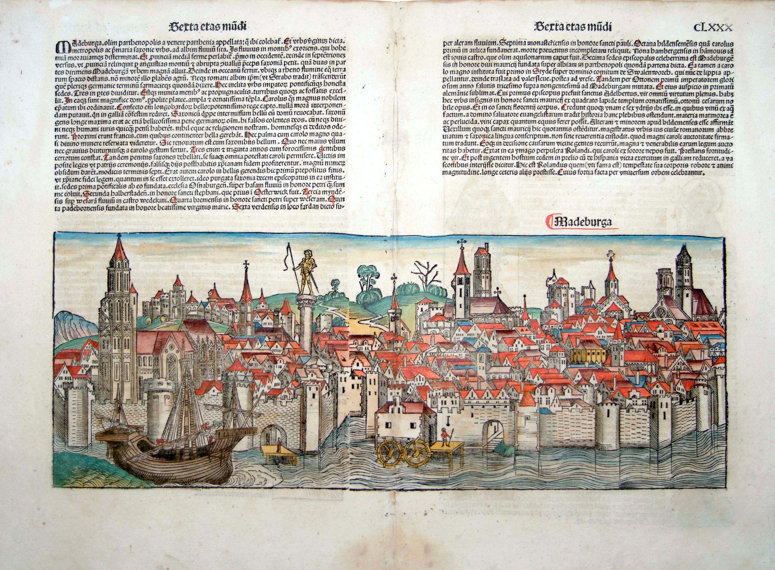 SCHEDEL, H. -  Madeburga [ Maagdenburg Folio CLXXX ]
