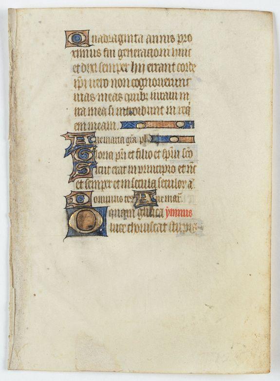 PSALTER -  Leaf from a manuscript Psalter, written on vellum.