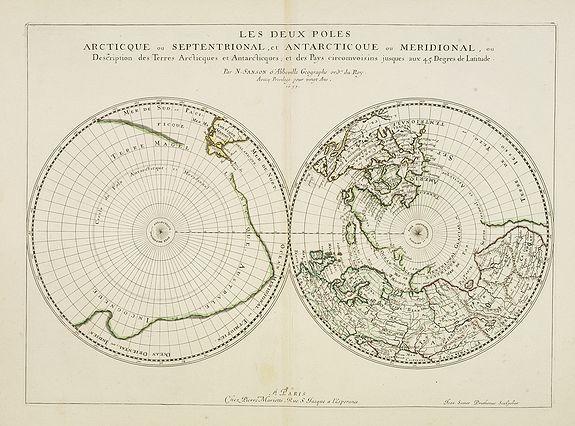 SANSON, N. / MARRIET, P. -  Les deux poles articque ou septentrional et antarticque..