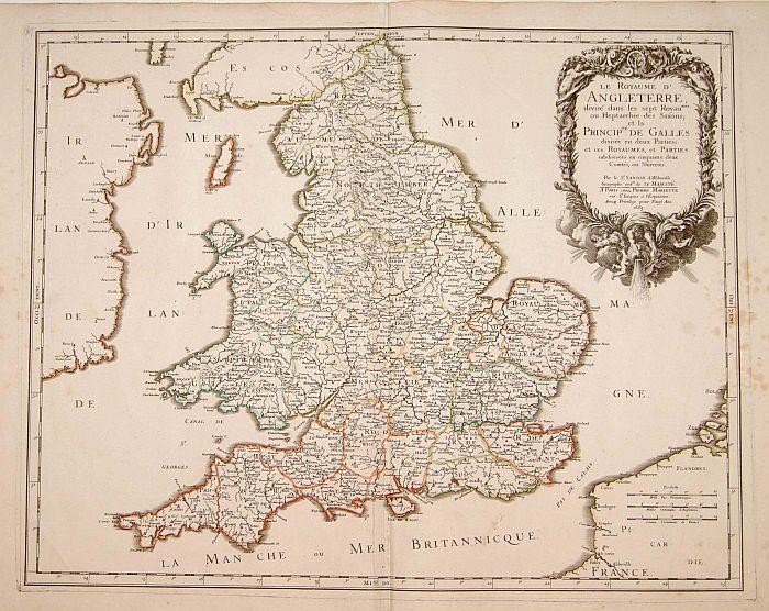 SANSON, N. / MARRIET, P. -  Le Royaume d'Angleterre, divisé dans les sept. . .