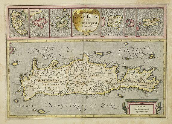 MERCATOR, G. / HONDIUS, J. -  Candia cum Insulis.. Corfu Zante, Milo, Nicsia, Santorini.