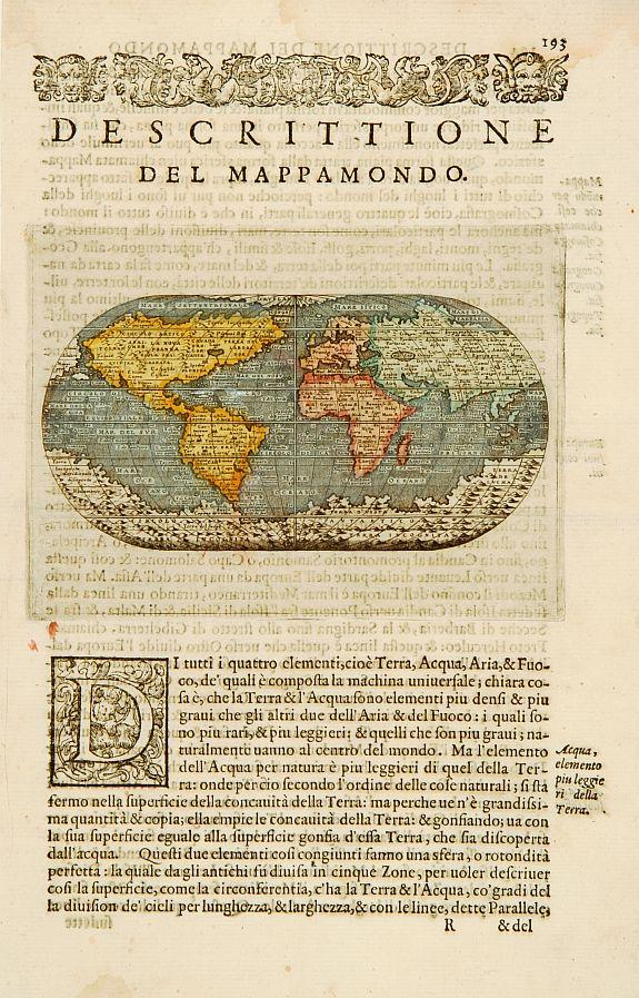 Porcacchi, T - [Descrittione del Mappamondo]