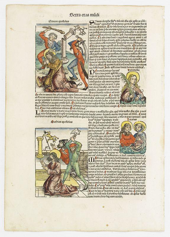 SCHEDEL, H. -  Sexta Etas Mudi. Symon Apostolus.. Folio CVII.