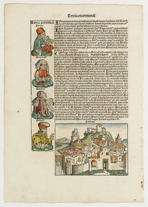 SCHEDEL, H. -  Tercia Etas Mundi. / Carthago. / Folio XL.