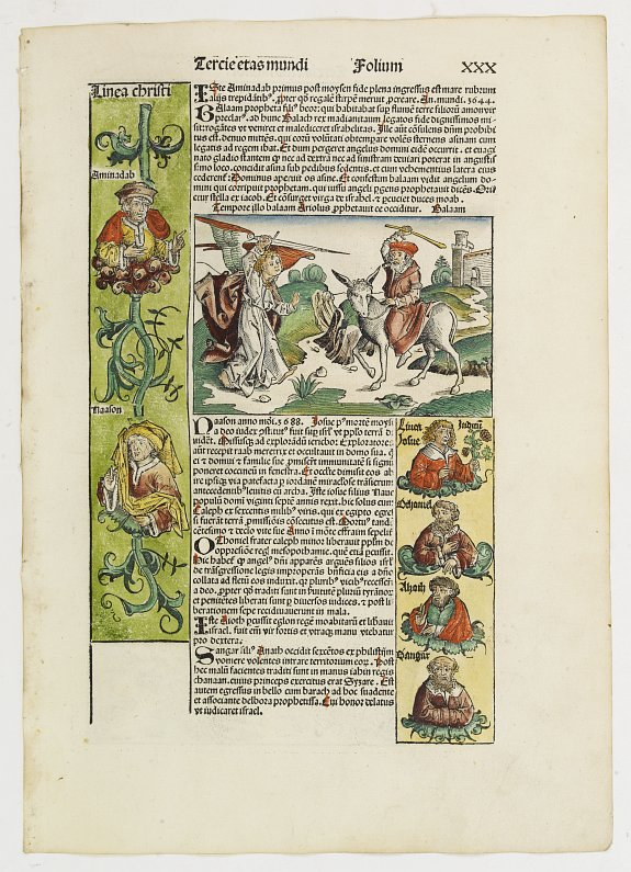 SCHEDEL, H. -  Tercia Etas Mundi. Folium XXX. [The Passage of the Red Sea, Moses receiving the Commandments, God's Angel, Balaam and his talking donkey. ]