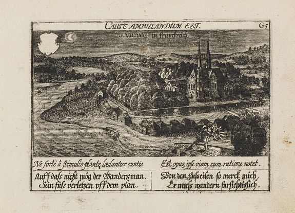 MEISNER, D.,  S. Victor in Franckr. [The Abbey of St. Victor near Paris.]., antique map, old maps