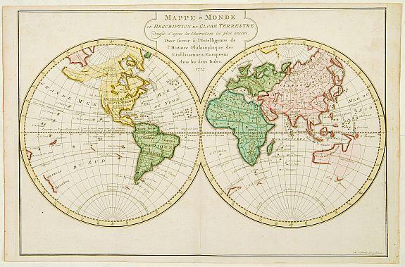 HARREVELT, E. van / CHANGUION, D.J. -  Mappe-Monde ou Description du Globe Terrestre.
