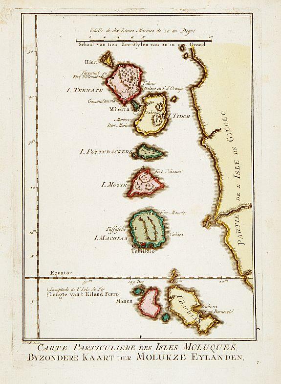 HARREVELT, E.van / CHANGUION, D.J. -  Carte Particuliere des Isles Moluques. . .