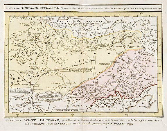 HARREVELT,E. van / CHANGUION, D.J. -  Carte de la Tartarie Occidentale.