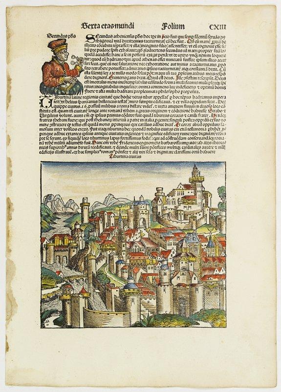 SCHEDEL, H. -  Tiburtina civitas. Sexta Etas Mudi. (San Lorenzo)