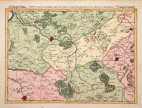 FRICX, E.F. -  Carte particuliere des environs de Fauquemont et Aix la Chapelle.