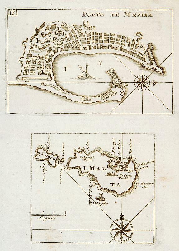 CORONELLI,V.M. - Porto de Mesina I. Malta.