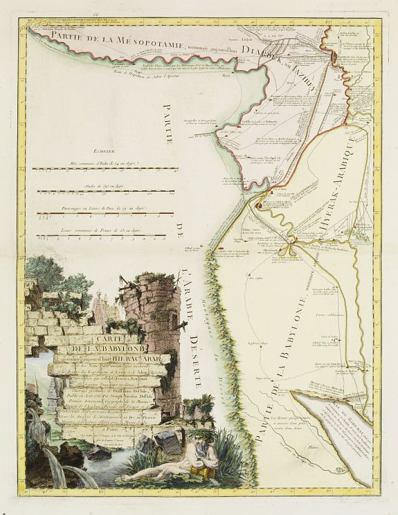 LATTRÉ / DE L'ISLE,J.N. -  Carte de la Babylonie nommée aujourd'hui Hierac-Arab avec les noms, tant anciens que modernes et les routes des expéditions de Cyrus et de Julien l'Apostat, aussi bien que celles de Teixera, Benjamin. . .