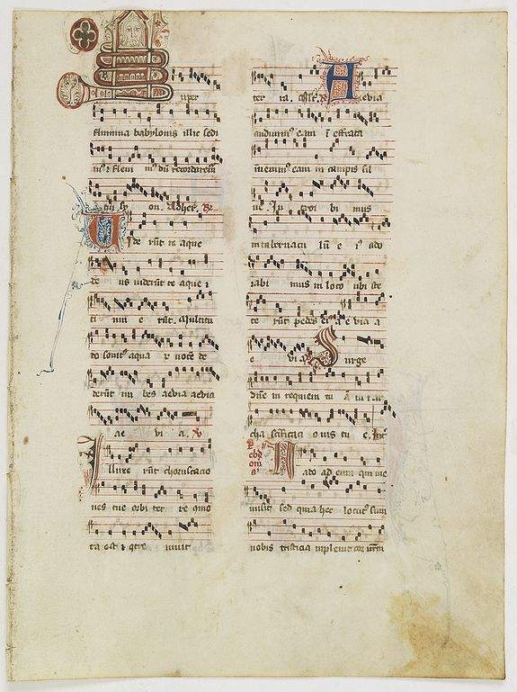 ANTIPHONARIUM,  Leaf on vellum from an antiphonary., antique map, old maps
