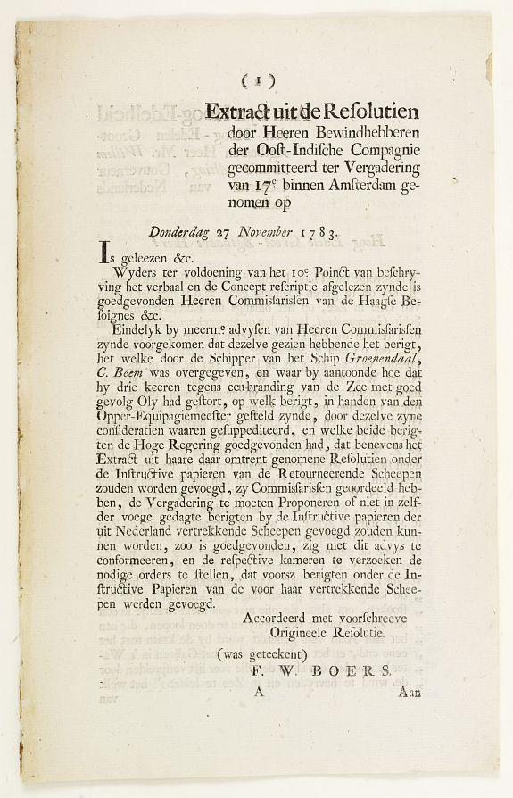 VOC. -  Extract uit de Resolutien door Heeren Bewindhebberen der Oost-Indische Compagnie gecommitteerd ter Vergadering van 17e binnen Amsterdam genomen op Donderdag