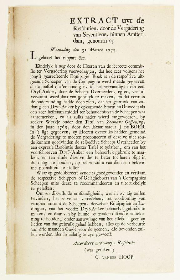 V.O.C. -  Extract uyt de Resolutien door de Vergadering van Seventiene, binnen Amsterdam, genomen op Woensdag den 31 Maart 1773.