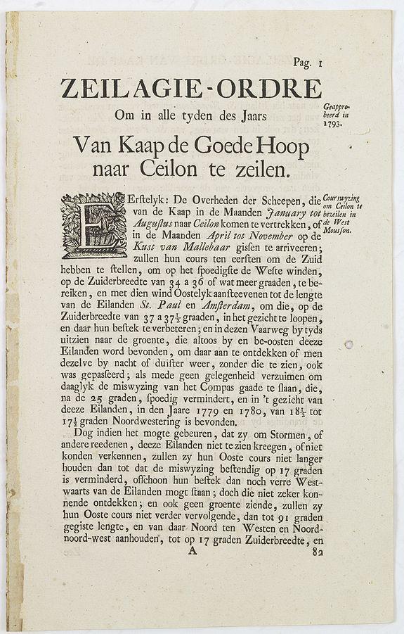 V.O.C. -  Zeilagie-Ordre om in alle Tyden des Jaars Van Kaap de Goede Hoop naar Ceilon te zeilen.