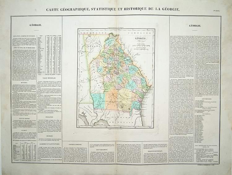 BUCHON, J.A. -  Carte Géographique .. Géorgie.