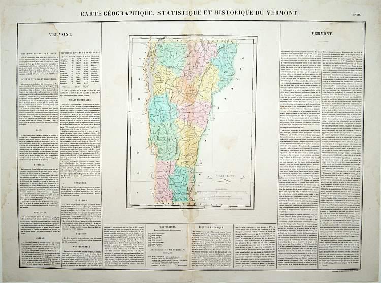 BUCHON, J.A. -  Carte Géographique .. Vermont.