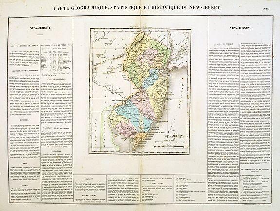 BUCHON, J.A. -  Carte Géographique .. New Jersey.
