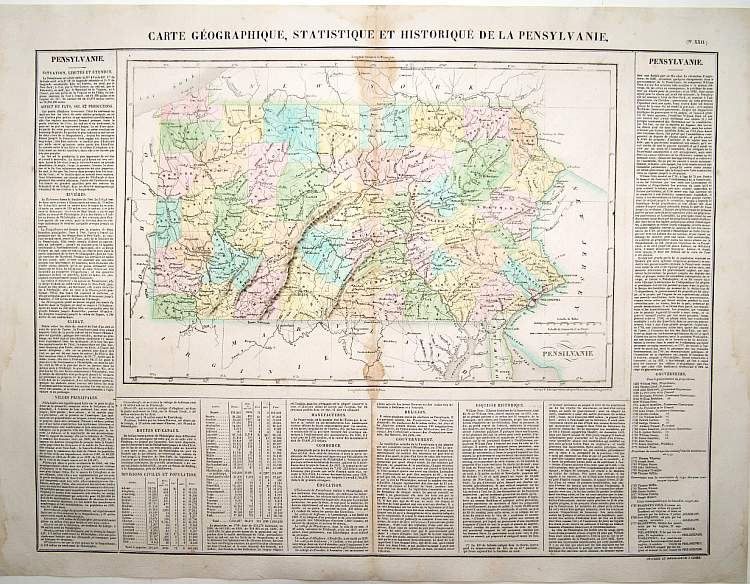 BUCHON,J.A. -  Carte Géographique [ . . .] de la Pensylvanie.