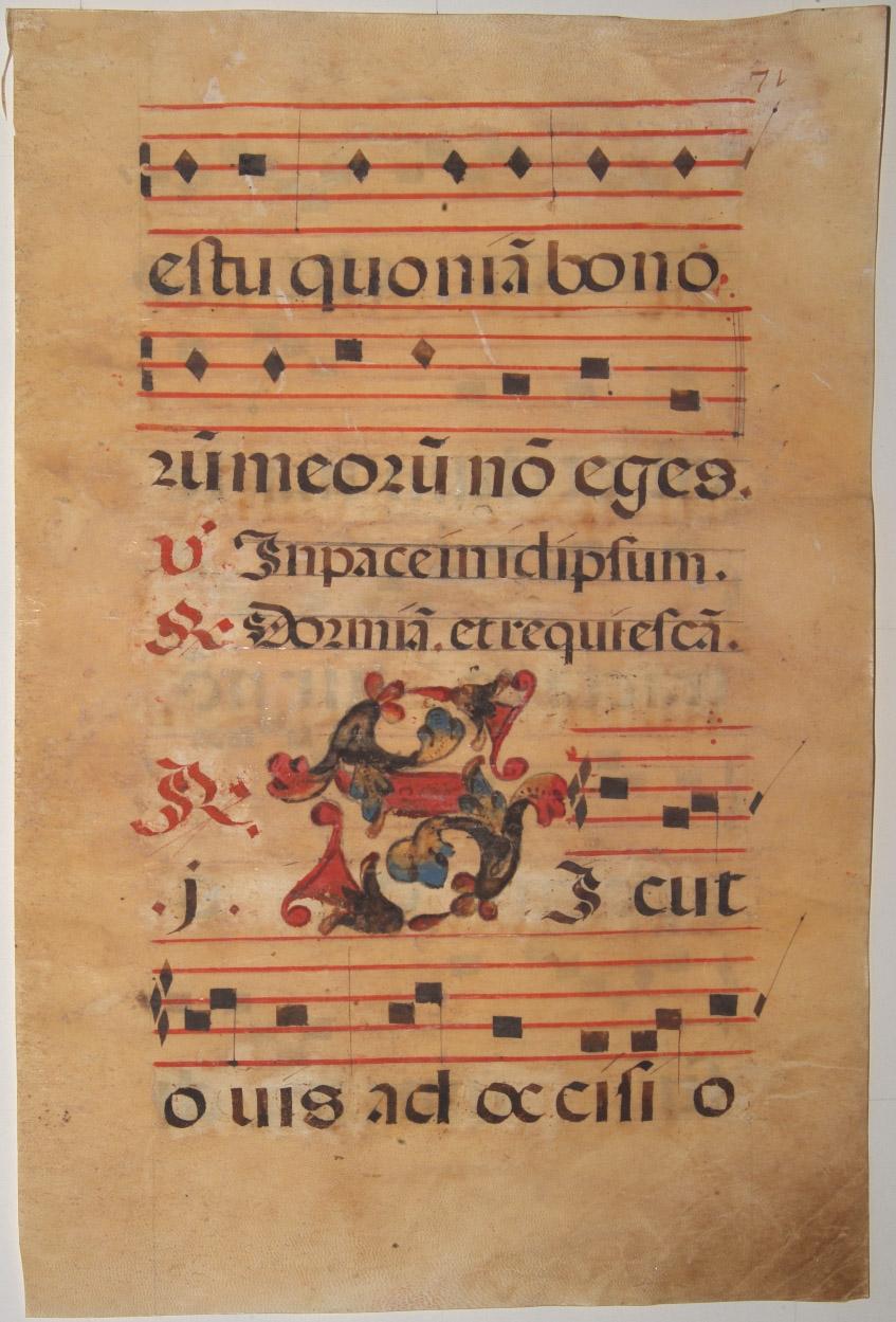 ANTIPHONER -  Leaf of manuscript music from an Antiphoner.