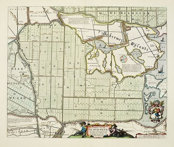 BLAEU, J. -  Caerte van de Scher-meer Alsoo deselve is Bedyckt, ende by Cavels van 15 Morgen suyver landt door lotinge uytgedelt, op den 25 October Anno 1635, ende aldus met groote verbeteringe int licht gegeven.
