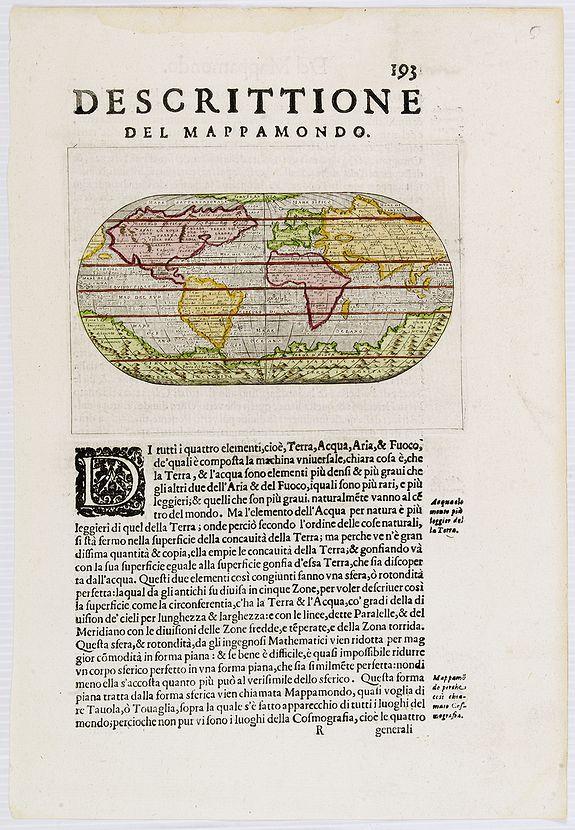 PORCACCHI, T. -  Descittione del Mappamondo.