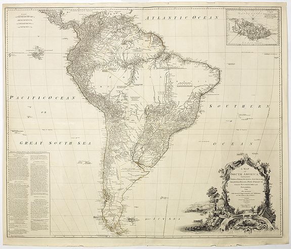 SAYER, R., A Map of south America Containing Tierra-Firma, Guyana, New Granada Amazonia, Brasil, Peru, Paraguay, Chaco, , Tucuman, Chili and Patagonia. from Mr.D'Anville with Several Improvements and Additio by Kitchin, Thomas., antique map, old maps