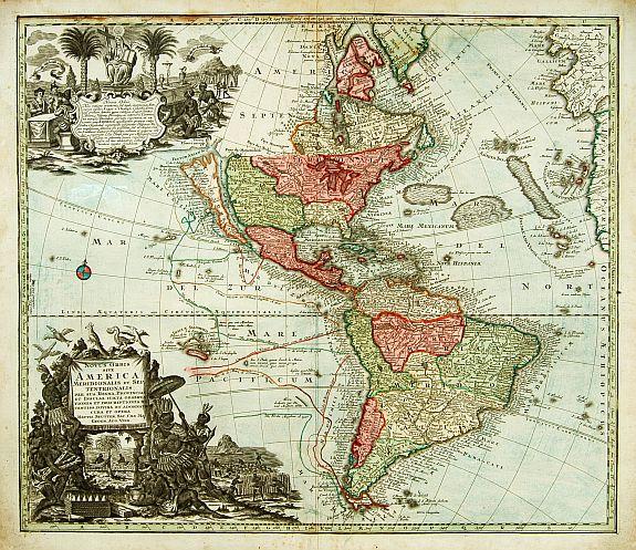 SEUTTER,M. - Novus Orbis sive  America Meridionalis et Septentrionalis..