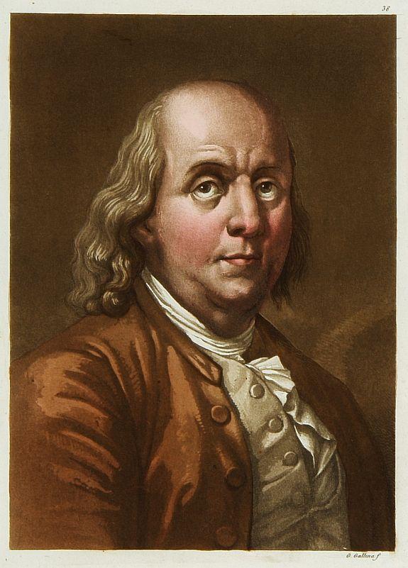 FERRARIO, G. -  Portrait de Benjamin Franklin.