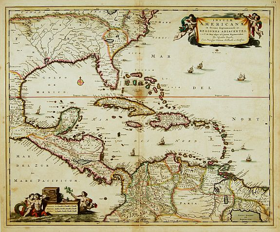 VISSCHER,N.,  Insulae Americanae in Oceano Septentrionali.., antique map, old maps