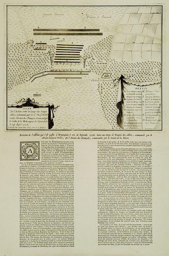 FRICX, H. / HARREWYN, J.-G. -  Plan De l'Action.. Auprès de Wynendale le 28 Sept. 1708.