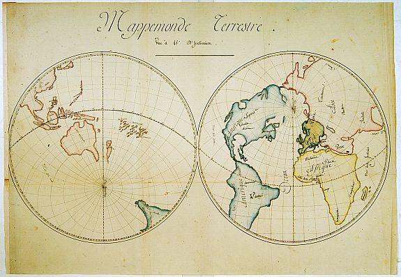 ANONYMOUS - Mappemonde Terrestre.. [manuscript map]