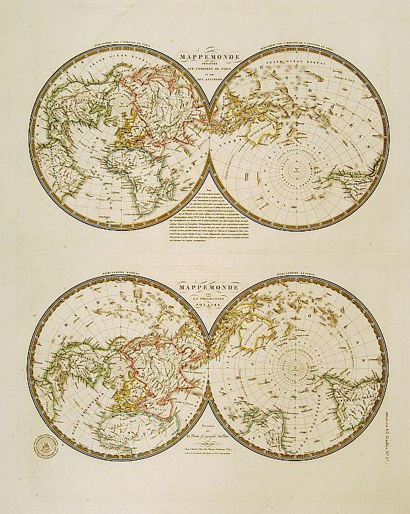 BRUÉ,A. - Mappemonde projetée sur l'horizon de Paris.. / Mappemonde sur la projection polaire.