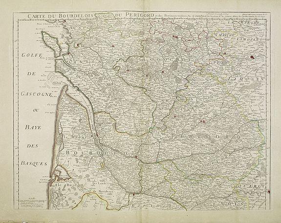 DE L'ISLE,G./ DEZAUCHE,J. -  Carte du Bourdelois du Perigord et des provinces voisines..