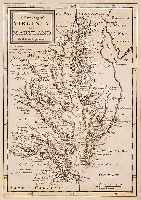 Old Map By Moll A New Map Of Virginia And Maryland