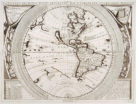 CORONELLI,P. - [Set of 2 maps] Planisfero del Mondo Vecchio,../ Planisfero del mondo nuovo..