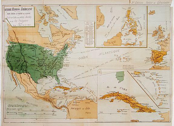 MEYER-VAN LOO, F. - Guerre Hispano-Américaine.. Carte de Cuba, des petites Antilles et des Iles Philippines.