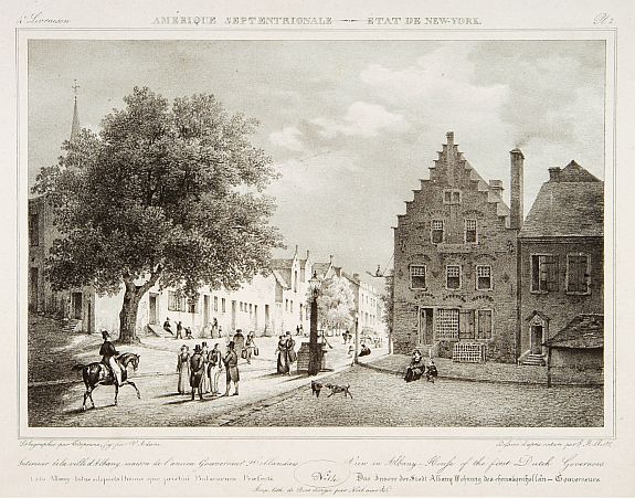 MILBERT, J. -  View in Albany-House of the first Dutch Governors.