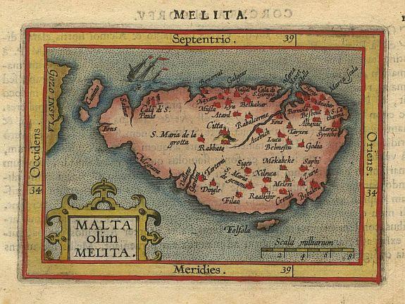 ORTELIUS,A./COIGNET.M. - Malta olim Melita.