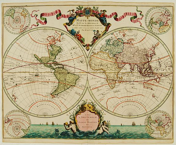 DE L'ISLE,G./MORTIER,P. - Mappe-Monde dressé sur les observations de..