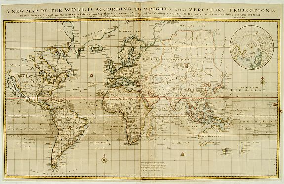MOLL,H. - A new map of the world according to the New Observations..