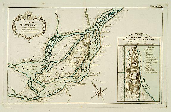 BELLIN LIsle De Montréal Et Ses Environs - Old montreal map