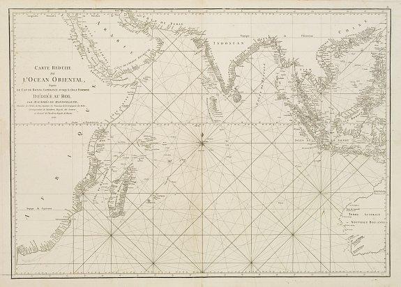 D'APRES DE MANNEVILLETTE. -  Carte réduite de l'Océan Oriental, depuis Le Cap de Bonne Espérance jusqu'à l'Isle Formose.