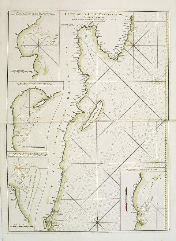 D'APRES DE MANNEVILLETTE. -  Carte Orientale de Madacascar Depuis la Rivière Ivondrou jusqu'à Mananzari.